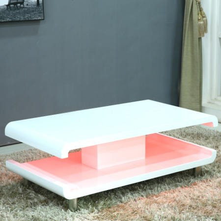Incredible Lux High Gloss White Black Coffee Table With Led Lighting Machost Co Dining Chair Design Ideas Machostcouk