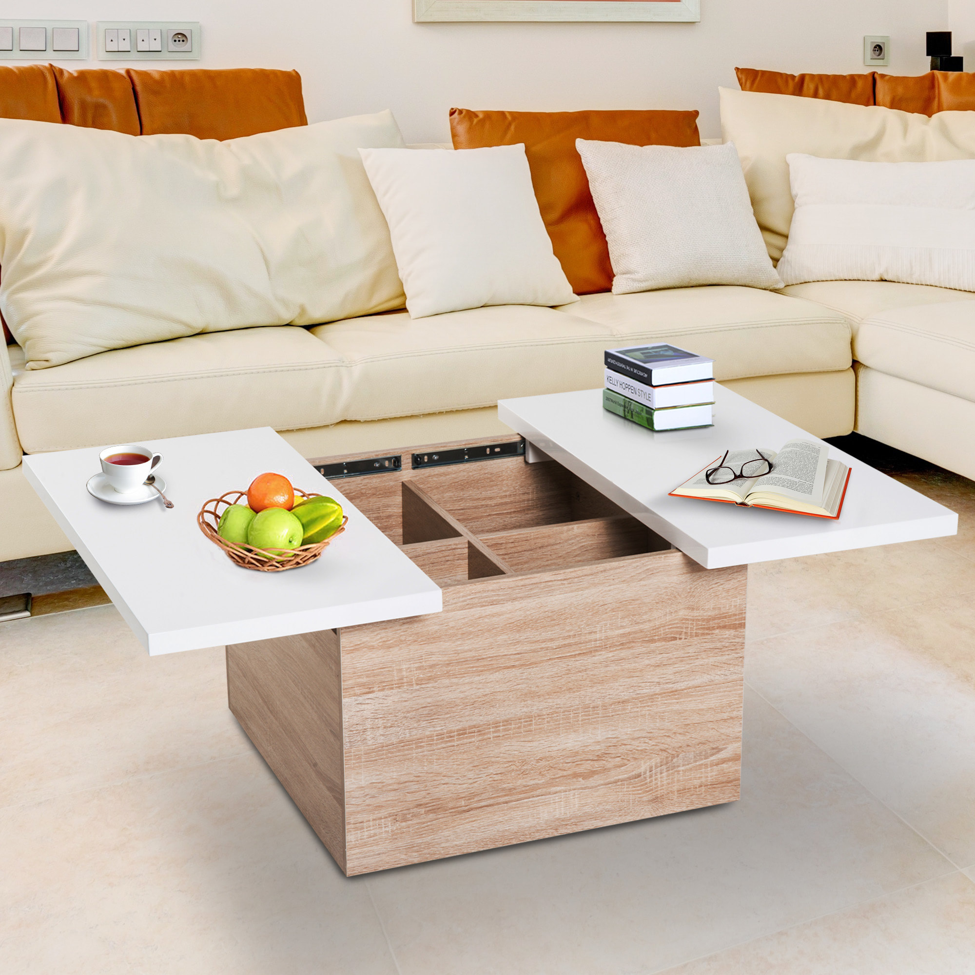 Modern Storage Coffee Table With Sliding Top Mdf Chipboard Living