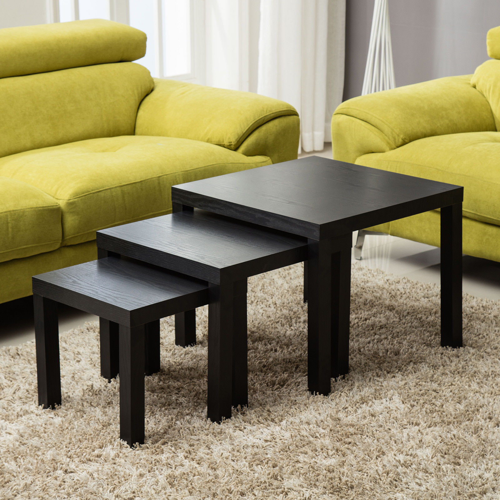 Modern Nest of 3 Tables Side End Coffee Table Living Room Furniture ...